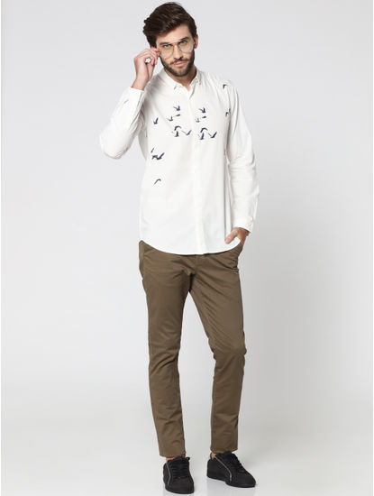 White Bird Print Full Sleeves Shirt