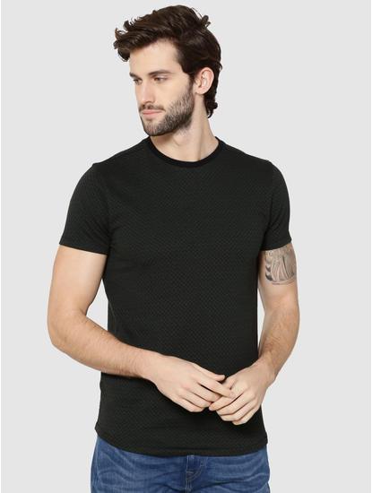 Green Jacquard Weave Crew Neck T-Shirt