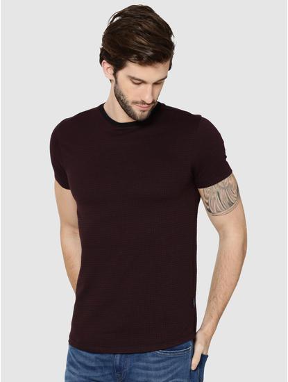 Burgundy Jacquard Crew Neck T-Shirt