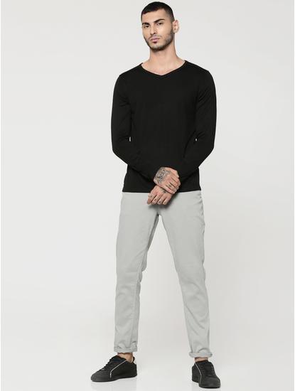 Black V-Neck Full Sleeves T-Shirt