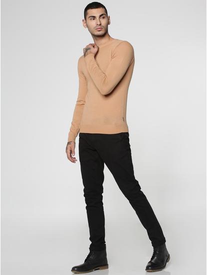 Brown Knit Crew Neck Sweatshirt