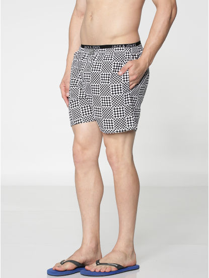 White Checkered Print Boxer