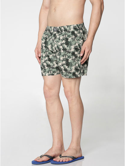 Green All Over Palm Trees Print Boxer