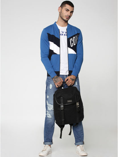Blue Colourblocked Sweat Jacket