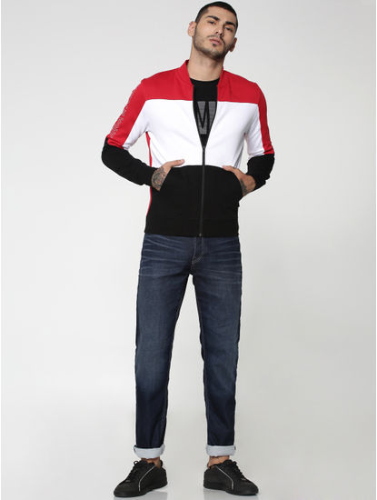 Red Colourblocked Sweat Jacket