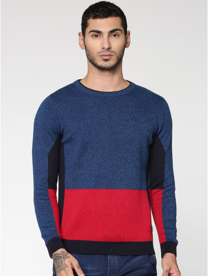 Blue Colour Blocked Crew Neck Sweatshirt