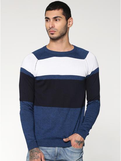 Blue Colour Blocked Striped Crew Neck Sweatshirt