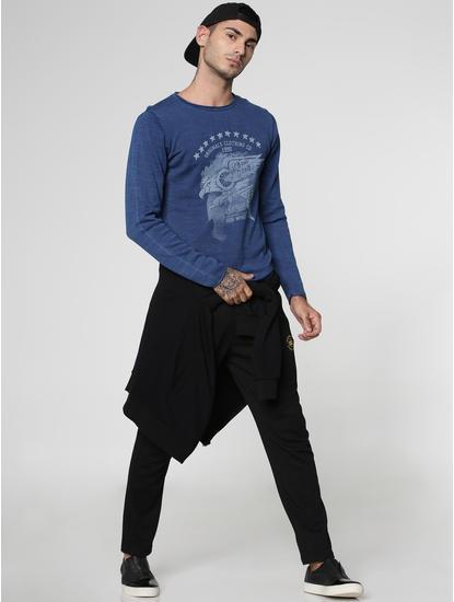 Indigo Text and Graphic Print Crew Neck Sweatshirt