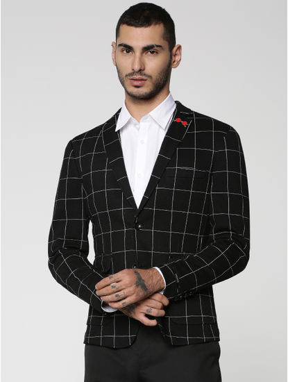 Black Check Slim Fit Blazer