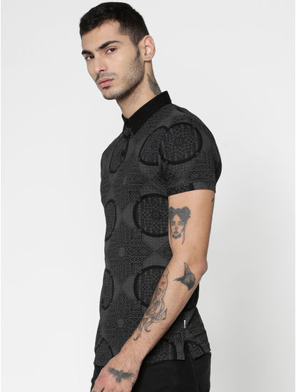 Black All Over Abstract Print Slim Fit Polo T-Shirt