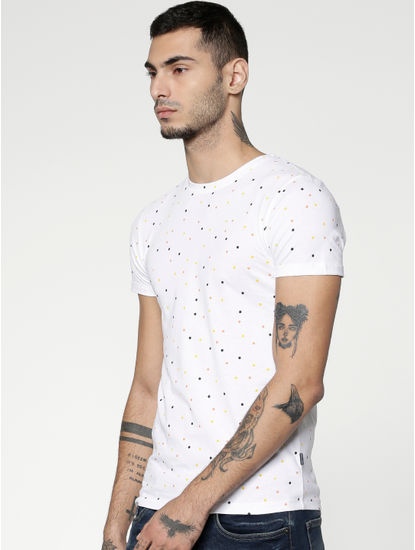 White All Over Polka Dot Print Slim Fit Crew Neck T-Shirt