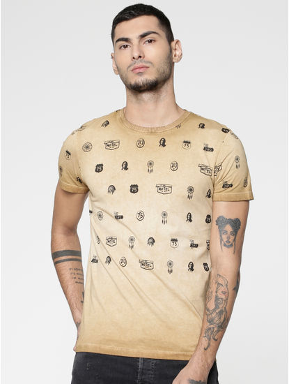 Brown All Over Graphic Print Slim Fit Crew Neck T-shirt