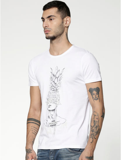 White Graphic Print Slim Fit Crew Neck T-shirt