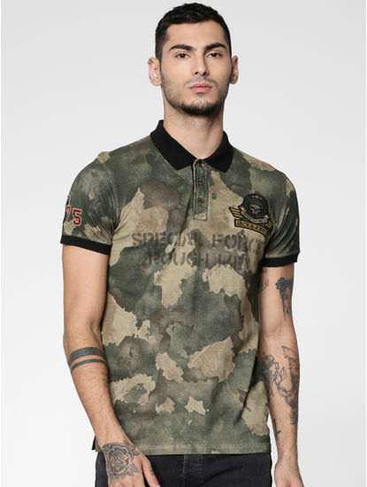 Brown Camo Slim Fit Polo Neck T-Shirt