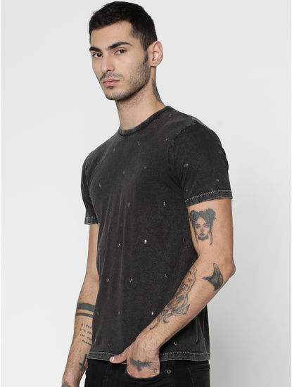 Black Embellished Crew Neck T-Shirt