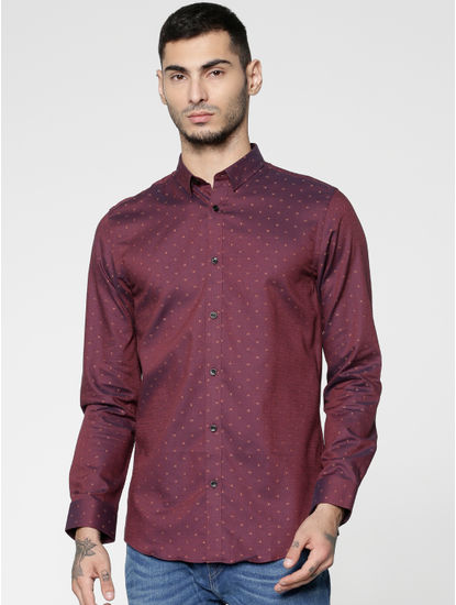 Red All Over Dotted Print Full Sleeves Shirt