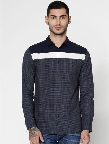 Blue Colour Blocked Checks Print Slim Fit Full Sleeves Shirt
