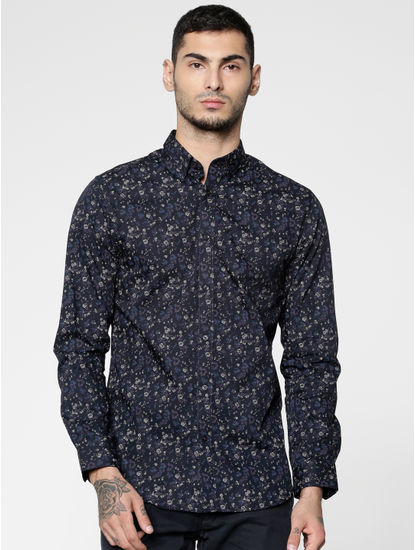 Blue All Over Printed Slim Fit Full Sleeves Shirt
