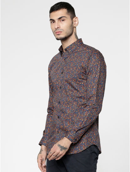 Blue All Over Floral Print Slim Fit Full Sleeves Shirt