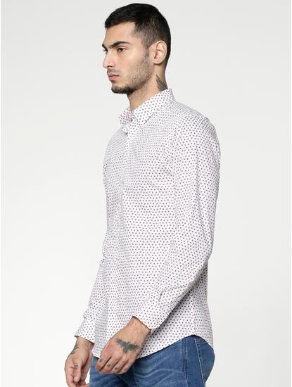 White Printed Slim Fit Full Sleeves Shirt