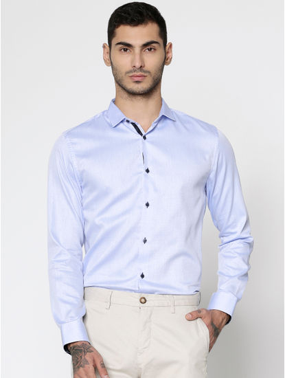 Blue Dobby Slim Fit Full Sleeves Shirt