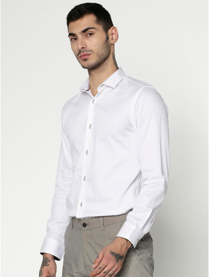 White Dobby Slim Fit Full Sleeves Shirt
