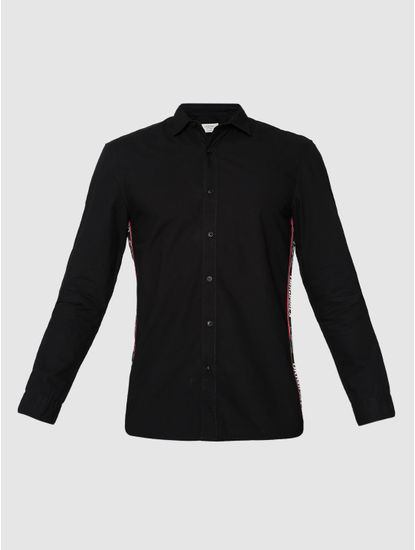 Black Side Tape Full Sleeves Shirt