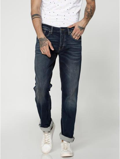 Dark Blue Clark Dobby Regular Fit Jeans
