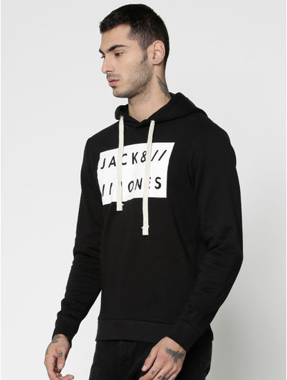 Black Colour Blocked Text Print Hooded Sweatshirt