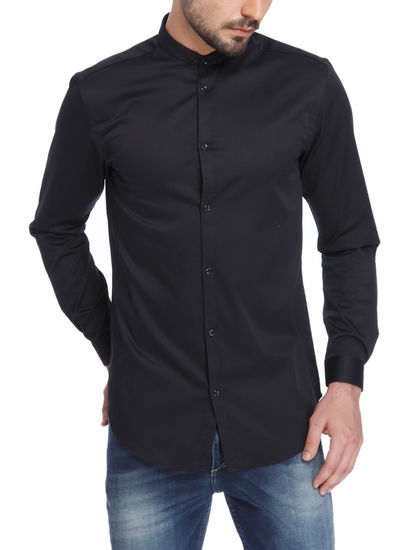 Solid Black Casual Shirt
