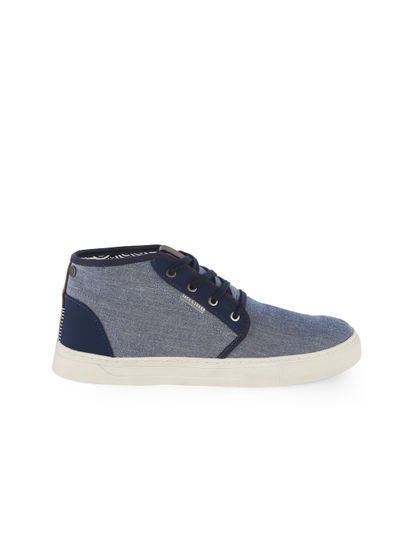 Blue Denim High Ankle Canvas Sneakers