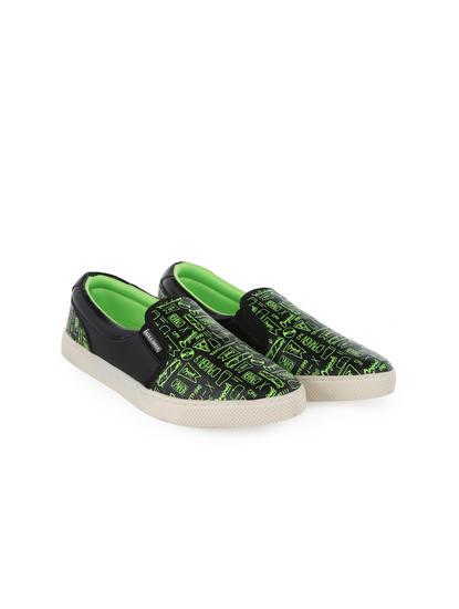 Black And Neon Green Printed Slip Ons