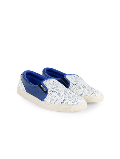 White And Electric Blue Printed Slip Ons
