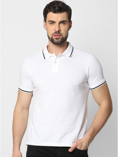 White Contrast Tipping Polo T-Shirt