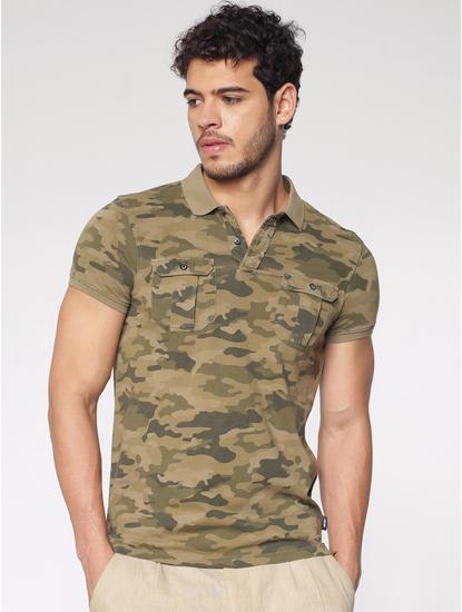 Brown Camo Print Polo Neck T-Shirt