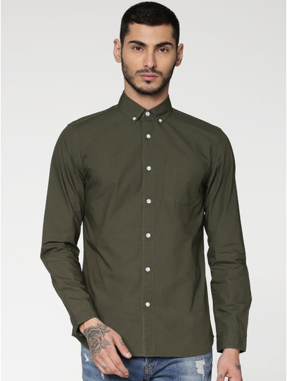 Green Slim Fit Full Sleeves Shirt