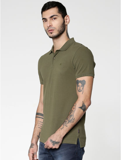 Green Slim Fit Polo Neck T-Shirt
