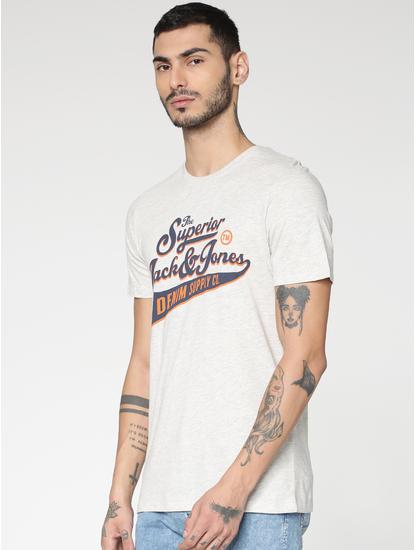 White Typographic Chest Print Slim Fit Crew Neck T-Shirt