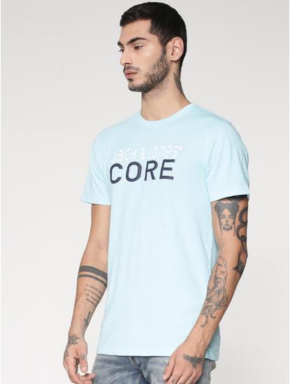 Blue Core Text Print Slim Fit Crew Neck T-Shirt