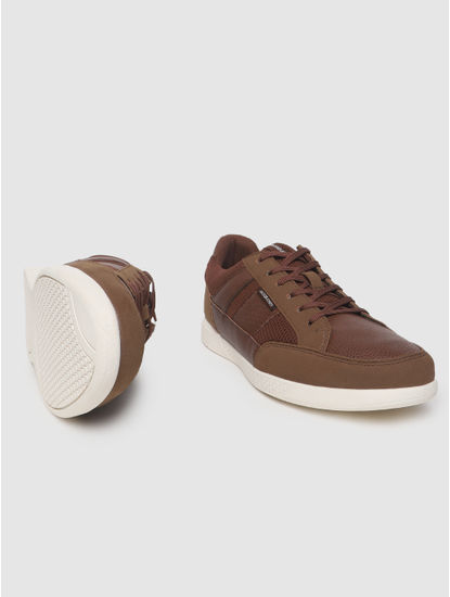 Brown Textured Sneakers