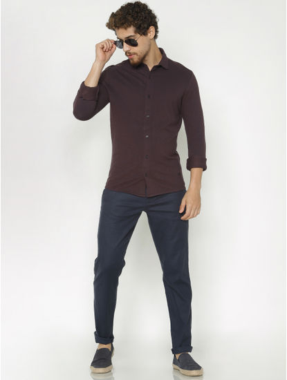 Burgundy Slim Fit Full Sleeves Shirt