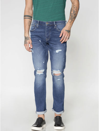 Blue Ripped Distressed Glenn Slim Fit Jeans