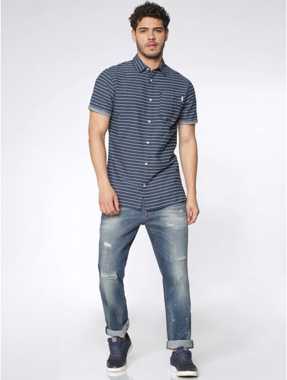 Blue Striped Slim Fit Short Sleeves Shirt