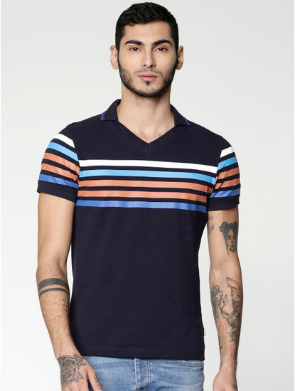 Blue Colour Blocked Striped Slim Fit Polo Neck T-shirt