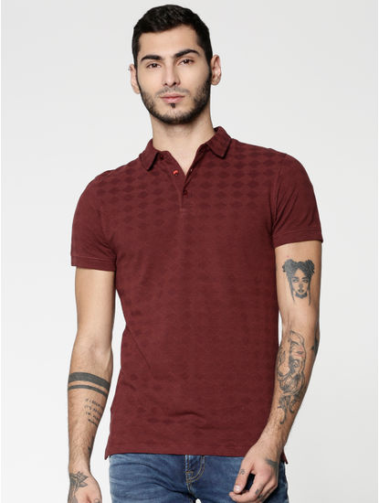 Red All Over Geometric Shape Print Slim Fit Polo Neck T-shirt