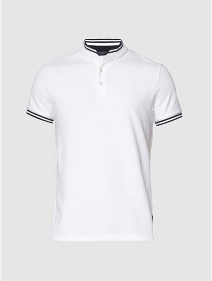 White Contrast Tipping Slim Fit Polo Neck T-Shirt