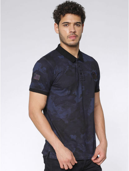 Blue Camo Washed Print Slim Fit Polo Neck T-shirt