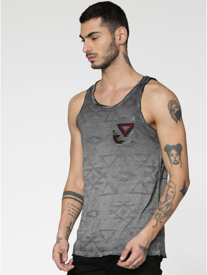 Black Dyed Graphic Print Slim Fit Tank Top