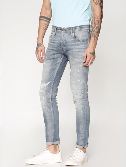 Blue Distressed Washed Glenn Slim Fit Jeans