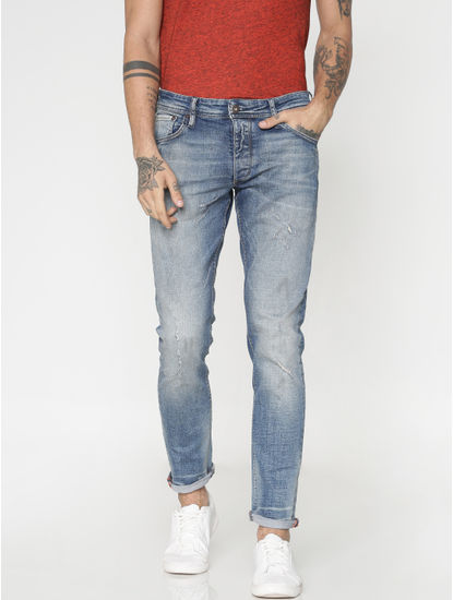 Light Blue Distressed Washed Glenn Slim Fit Jeans